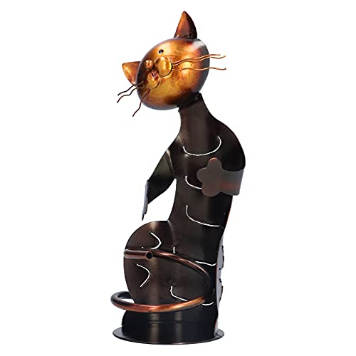 Estante del vino de la forma del gato, escultura del metal de la estatua del gato con las líneas simples para el escritorio