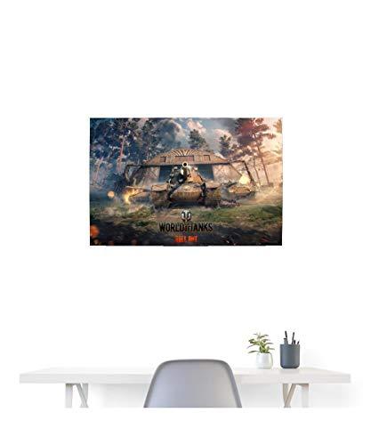 Spreadshirt World of Tanks Panzer unter Beschuss Poster 90x60 cm, Weiß