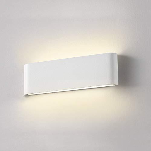 Luminaire Applique Mural LED Blanche Wowatt Applique 2800K Blanc Chaud 12W 220V Luminaire Interieur Design Aluminium Moderne Lampe Murale pour Chambre Salon Couloir Escalier Hôtel Salle de Bain 30 CM