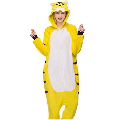 Unisex Pajamas Adult Animal Onesies Autumn and Winter Long Sleeved Thick Cartoon Animal One Piece Pajamas Yellow Tiger Flannel Couple Pajamas Home Goldenflower Tiger m