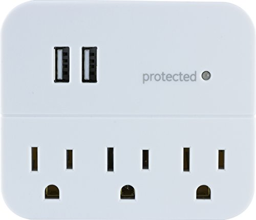 GE 14512 Protector contra sobretensión, 3 enchufes, 450J, USB, 2 Puertos, 1.0A, Color Blanco, 3 AC + 2…