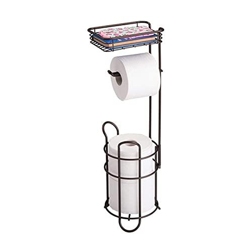Portarrollos Papel Higienico de Pie con Canasta de Almacenamiento, Organizador de Reserva de Rollo de Papel Higiénico, Tiene Capacidad para 3 Rollos de Papel Higiénico, para Teléfonos Móviles, Wipe