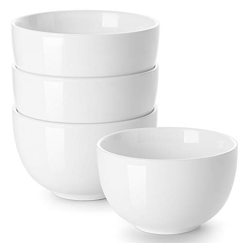 DOWAN Deep Soup Bowls, 30 Ounces White Cereal Bowl for Oatmeal, Ceramic Ramen Bowls for Noodle, Porcelain Bowls Set 4 for Kitchen, Dishwasher and Microwave Safe