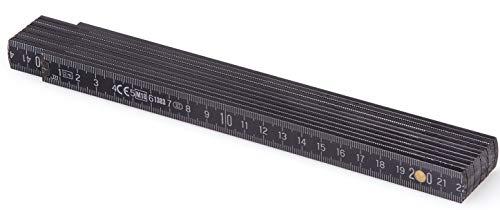 Metrie™ BL52 Holz Zollstock/Zollstöcke |2m langer Gliedermaßstab, Maßstab|Meterstab mit Duplex-Teilung - Schwarz