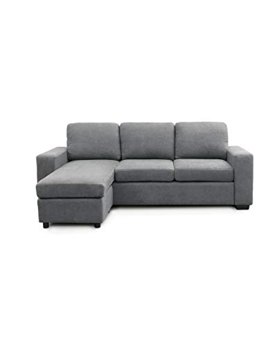 SWEET SOFA-Sofá Chaiselongue Mika, sofá de 3 plazas con pouff Reversible en tapizado en Tela Antimanchas Color Gris o marrón. - Gris