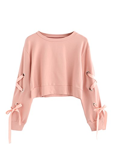 SweatyRocks Women's Casual Lace up Long Sleeve Pullover Crop Top Sweatshirt Solid Pink Small