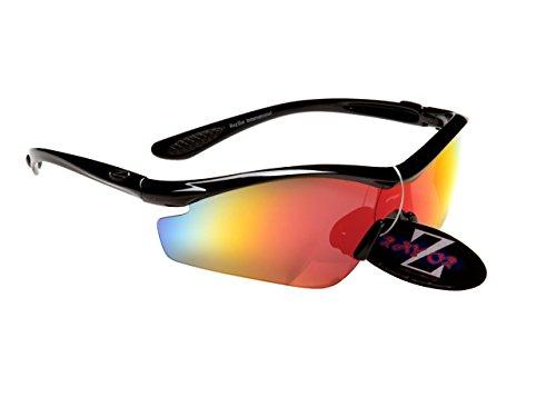 Rayzor Professionnel léger UV400 Noir Sport Wrap Course Lunettes de Soleil, avec Une Rouge Iridium Miroir Anti-éblouissement Lens.