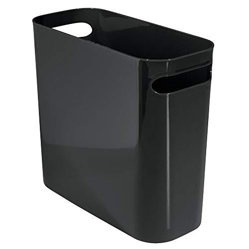 "mDesign Slim Plastic Rectangular Small Trash Can Wastebasket, Garbage Container Bin with Handles for Bathroom, Kitchen, Home Office, Dorm, Kids Room - 10"" High, Shatter-Resistant - Black"