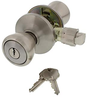 Ultra Security 84261 Mobile Home Tulip Knob Door Lock Entry Set with Keys, Stainless Steel, KD/KW1