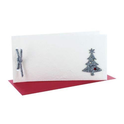 exklusive Weihnachtskarte Naturpapier creme DIN lang, Filzbaum