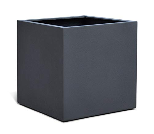 VAPLANTO® Pflanzkübel Cube 50 Anthrazit Schwarz Quadratisch * 50 x 50 x 50 cm * Manufaktur Qualität * 10 Jahre Garantie