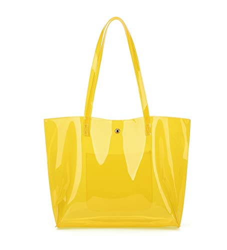 Women's Soft Faux Leather Tote Shoulder Bag from Dreubea, Big Capacity Handbag Clear Yellow