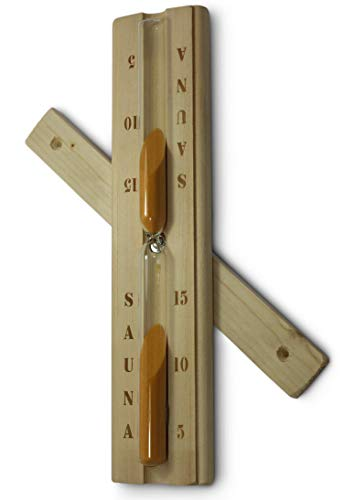 Sauna Sanduhr aus Holz mit hitzebeständigem Glaseinsatz vom Sauna-Expert, sandbefüllt, Laufzeit ca. 15 min. geeignet für Sauna und Infrarotkabine. Premium Design
