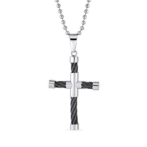 Bling Jewelry Herren Zwei-Ton-Rohr Schwarz Kabel Kreuz Anhänger Halskette Für Männer Für Teen Schwarz Silber Ton Edelstahl