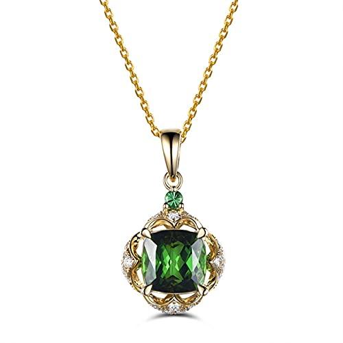 CHENLING Collar colgante de esmeralda cuadrado de color oro amarillo para las mujeres verde turmalina colgante de piedras preciosas de circonio colgante joyería de suspensión de diamante