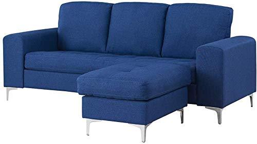 YRRA Divano a 2 posti/a 3 posti Divano Divano L Divano con poggiapiedi in Tessuto di Lino Divano angolare Couch Lounge Divano Chaise Divano (Blu 2 posti con poggiapiedi)-Blu_3 posti con poggiapiedi