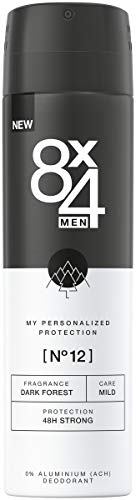 8X4 Men Deo Spray N°12 Dark Forest (150 ml), Herren Deodorant mit anregend-holzigem Duft, 48h zuverlässiges Deo ohne Aluminium (ACH) für jeden Hauttyp