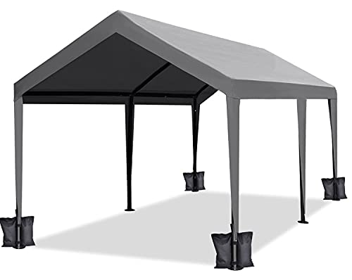 DOIFUN 10x20 Feet Heavy Duty Carport Portable Garage Car Canopy Boat Shelter Tent with 4 Weight Bags for Party, Wedding,Garden Storage Shed 6 Legs, Grey