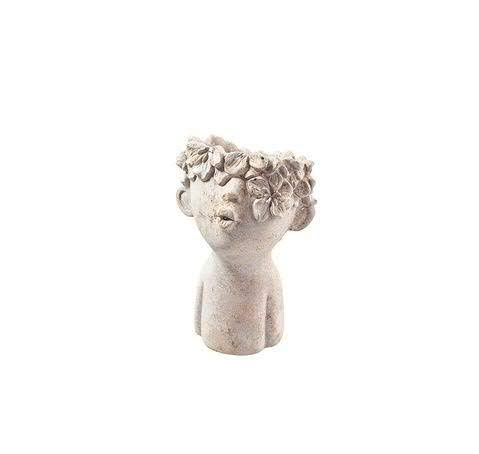 Witziger Pflanzkopf Büste - Figur zum Bepflanzen – Keramik Pflanzgefäß - Pflanzfigur Dekoration (Klein: Höhe 18cm)