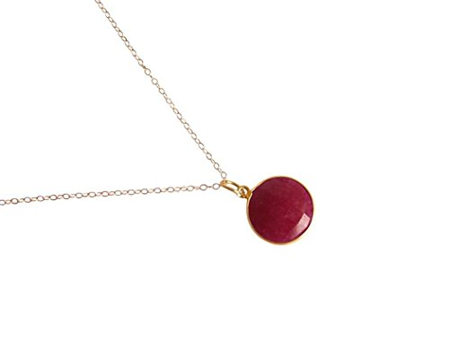 Gemshine - Damen - Halskette - 925 Silber - Vergoldet - Rubin - Rot - CANDY - 45 cm