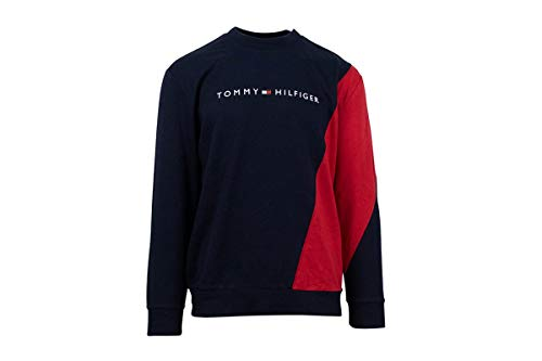 Tommy Hilfiger Men's Modern Essentials Colorblocked Long Sleeve Sweatshirt, Mahogany,M - US