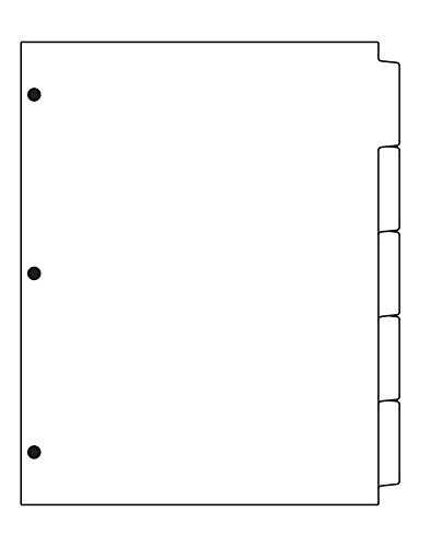 SohoFile Index Tabs 90# Plain Paper 1/5 Cut Straight Collated 3 Holes 1 Box/50 Sets/250 Tabs