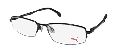 Puma 15427 Mens/Womens Spring Hinges Masculine Design Brand Name TIGHT-FIT Designed For Weight Lifting/Yoga/Sports Activities Eyeglasses/Eye Glasses (49-15-135, Black/Navy)