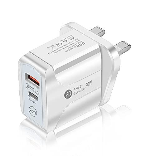 Puerto de Fuente de Carga rápida USB QC3.0, Cargador de Pared con Enchufe PD de 20 W, Cabezal de Carga con Adaptador de Corriente de Doble Puerto, Compatible con Android, Sistema iOS, computadora