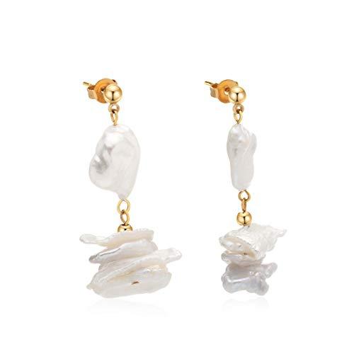 HNCZ Pearl Earrings Diamond Shaped Stainless Steel Earrings Valentine's Day
