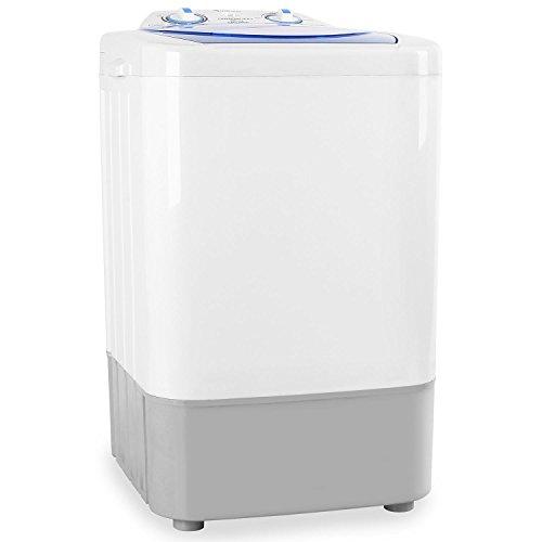 oneConcept SG002 - Mini-Waschmaschine, Camping-Waschmaschine, Toploader, für Singles, Studentenhaushalte, Camper, 2,8 kg Kapazität, 250 Watt Leistung, geräuscharm, weiß-blau