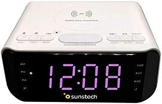 Sunstech FRD50BTWC Radio Alarm Clock with 5W Wireless Charging, White