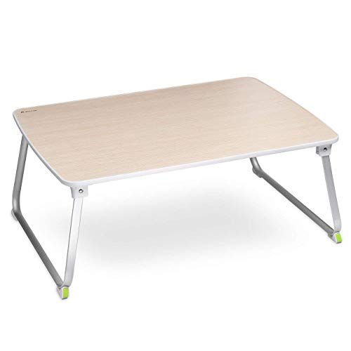 SALCAR - Stabiler Laptop Betttisch 70 * 50cm Verstellbarer Lapdesk, tragbarer Laptop-Tisch, Laptopständer für Frühstücks, Notebook, Bücher, Minitable, Bett Tablett - Holzfarbe