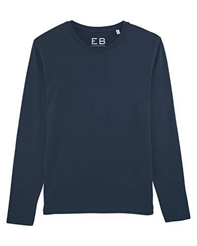 Everbasics - Camiseta de manga larga para hombre, cuello redondo, con función para llevar durante días sin lavar, disponible en muchos colores azul oscuro S