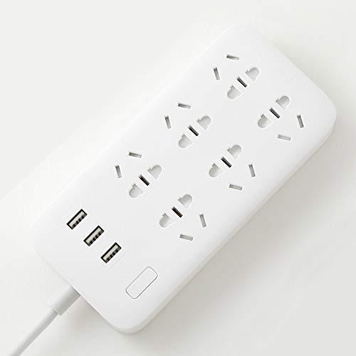 SXXYTCWL Drag Line Plank Power Strip Basic versión 6 Sockets con 3 5V 2.1A Puertos USB de Carga rápida Color sólido de zócalo Blanco jianyou