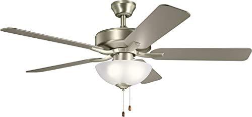 Kichler 330017NI Basics Pro Select 52'' Ceiling Fan with LED Lights, Brushed Nickel