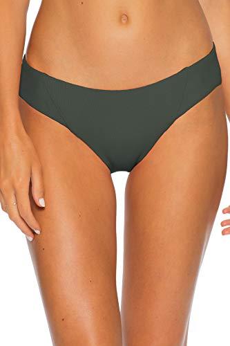 Becca by Rebecca Virtue Women's American Ribbed Tab Side Hipster Bikini Bottom Basil M