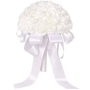 Juvale White Small Roses Bridal Wedding Bridesmaid Bouquet with Artificial Flowers, 7.5 x 10 Inches