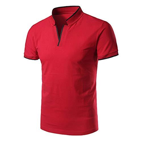 Yowablo Herren Poloshirt Polo Polohemd Kurzarmshirt Shirt Basic Casual Fashion Stehkragen Kurzarm Polo Shirt Bluse (M,1Rot)
