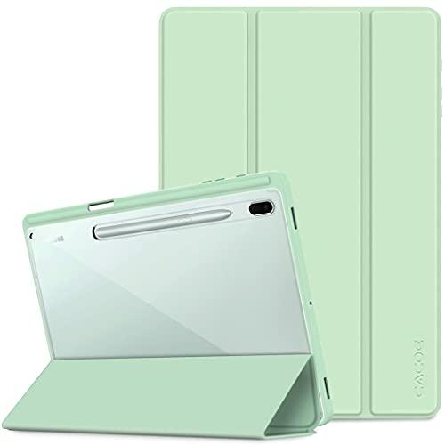 CACOE Hülle Kompatibel mit Samsung Galaxy Tab S7 FE 12.4/ S7+ Plus 12.4, Schutzhülle mit transparenter Rückseite & Stifthalter, mit Auto Schlaf/Wach Funktion