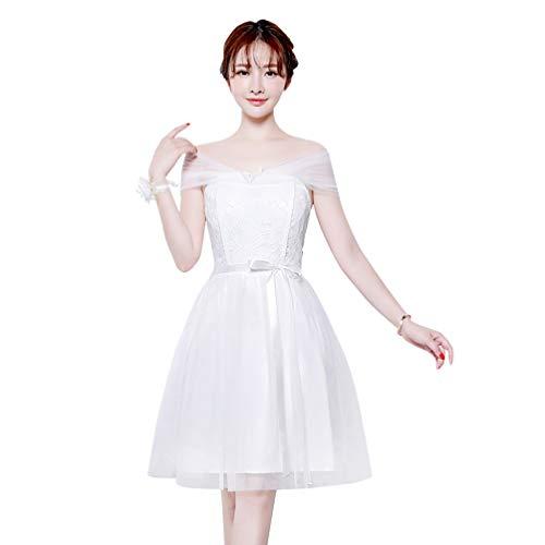 Amosfun Vestido de formatura de tule de renda curto para dama de honra, vestido de festa de casamento, vestido curto para formatura, coquetel, vestido formal, Branco, X-Large