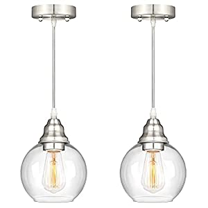 Industrial Pendant Lighting, Adjustable Hanging Light Fixture with Clear Glass Globle Shade, Brushed Nickel, Vintage Farmhouse Mini Hanging Ceiling Lamp for Kitchen Bedroom Hallway E26 Base, 2-Pack