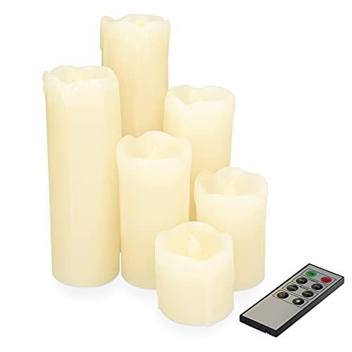 Navaris 6x LED Wachskerzen mit Fernbedienung - warmweiß - Flacker Effekt Dimmer Timer - LED Kerzen Set aus echtem Wachs - Deko LED Echtwachskerzen