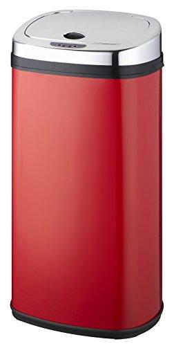 Kitchen Move BAT-42LS02-A Nouveau Modèle 2016 Poubelle de Cuisine Automatique Forme Carré Inox Rouge 42 L