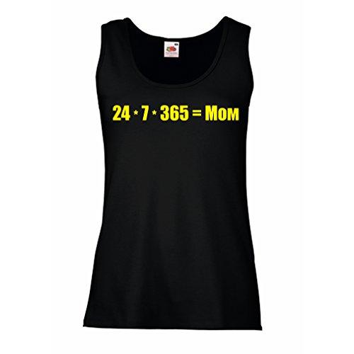 Camisetas sin Mangas para Mujer La Mejor mamá - Amor Usted Mensaje de la mamá - cumpleaños, día de Madres, Regalos del Aniversario (Large Negro Amarillo)