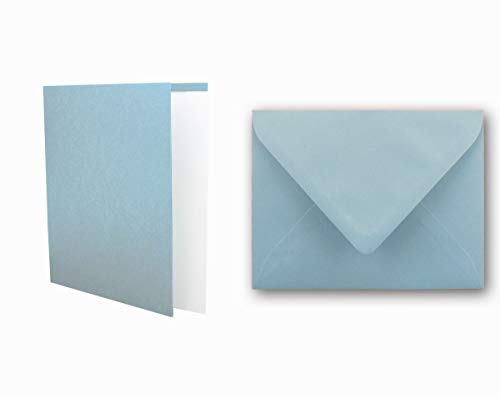 Einladungskarten inklusive Briefumschläge & Einlegeblätter - 25er-Set - Blanko Klapp-Karten in Hell-Blau - bedruckbare Post-Karten in DIN B6 Format - speziell zum Selbstgestalten & Kreieren