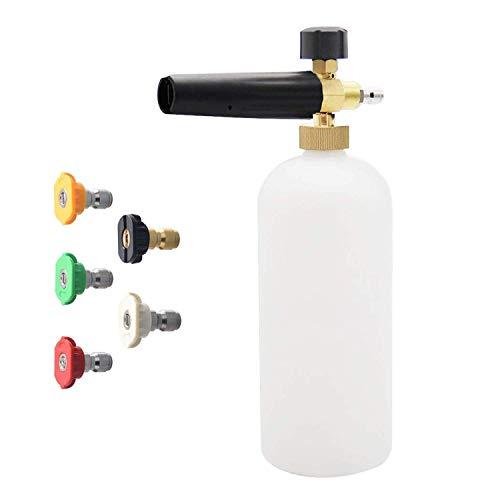 Manyao Arandela de la presión de rociado a chorro de lavado de nieve de espuma cañón lanza con agua Sprayer- tubo rociador con 1/4 conector rápido espuma Blaster 5 arandela de la presión de la boquill