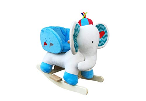 The Rocking Horse Co. - Rocking Elephant - White / Blue - Plush Finish - Complete with Sounds - On solid wood rockers