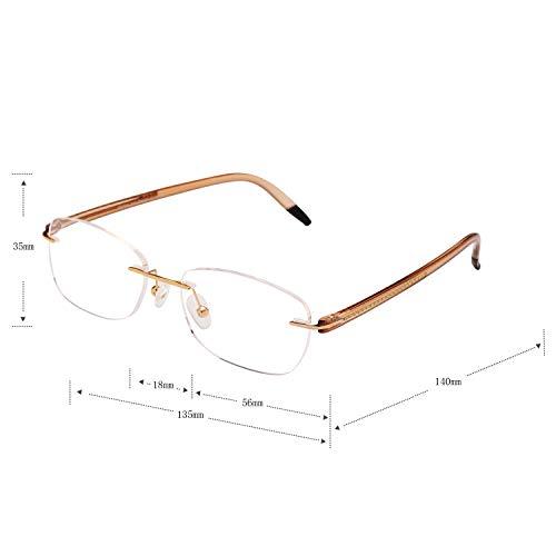 Liansan Reading Glasses for Men and Women TR90 Arm 10g Only Lightweight Rimless Glasses L8019 Gold+2.0