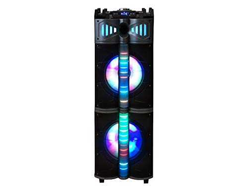 "Mr. Dj Miami 3-Way Dual 12"" Portable Active Speaker, Built-in Smart App Control User, Bluetooth, USB/SD Card FM Tuner, Rechargeable Battery & Accent LED Lighting Max Power 6000W P.M.P.O"
