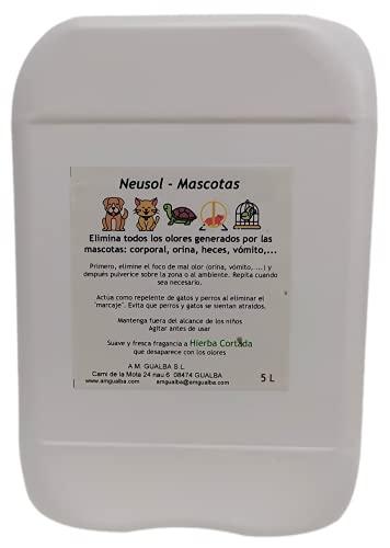 Neusol Mascotas 5L Industrial Quita olor de perros y gatos. Elimina orina y marcaje. Actúa como repelente/ahuyentador, los espanta. Efectivo y económico